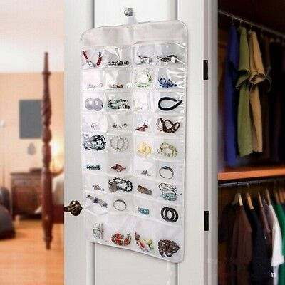 72 Unit Pocket Double Sided Hanging Jewelry Organizer Storage Bag Case Holder LH