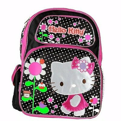 "Hello Kitty Flowers Girls 16"" Kids Large backpack"