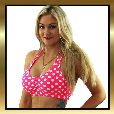 Juicee Peach Pink & White Polka Dot Halter Tie Cross Back Dancing Crop Top