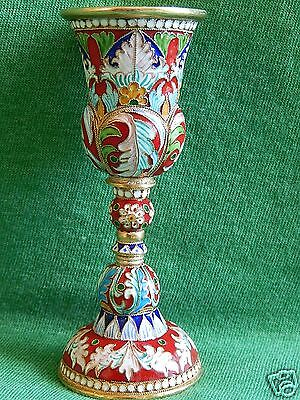 RUSSIAN STERLING SILVER 84 GILDED GOLD CLOISONNE ENAMEL VODKA WINE CUP 77,3 g.