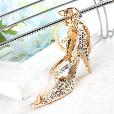 White Feather High heel Shoe Fashion Swarovski Crystal Purse Bag Key Chain Gift