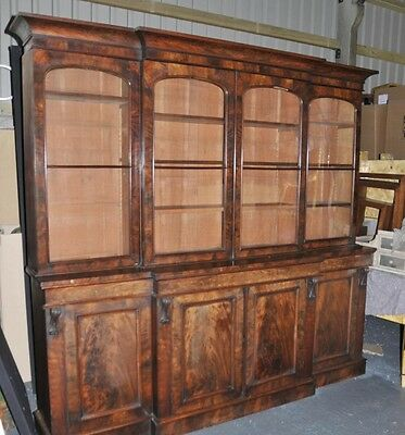 Large Antique Walnut Victorian Breakfront Bookcase
