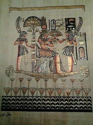 Hand Painted Egyptian Art On Papyrus, Number 6 New Princess On Boat