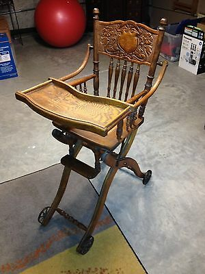 Early 1900's Antique High Chair & Stroller Combo