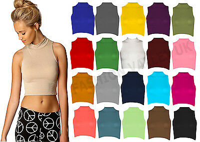 Ladies High Neck Sleeveless Viscose Roll Polo Neck Crop Top Womens Top Size 8-14