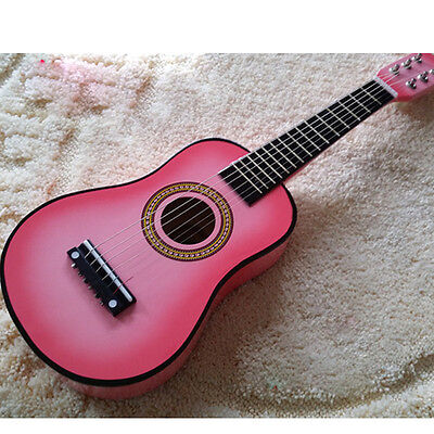 "Pink 23"" Beginners Practice Acoustic mini Guitar w/ Pick 6 String for Children"