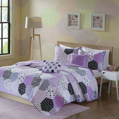 Beautiful Modern Chic Purple Grey Black White Polka Dot Geometric Soft Quilt Set