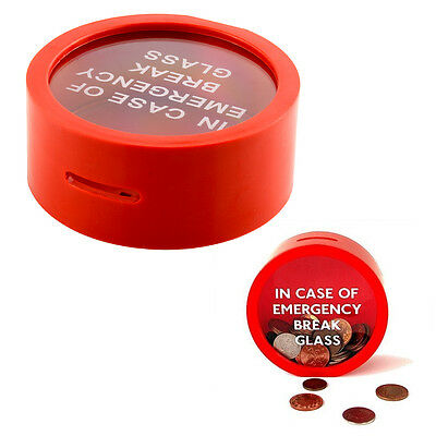 Novelty Round Red Money Box Saving Bank In Case Of Emergency Coin Gadget Gift