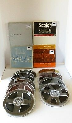 (5) Vintage Used  Scotch, Ampex, Memorex And Melody Stereo Tapes Reel To Reel