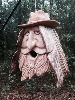 Wood Spirit Unique Old Man rustic Hand Carved Cedar Birdhouse Happy Cowboy