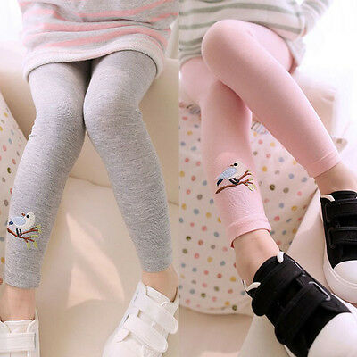 Toddler Kids Girls Baby Cotton Embroidery Pants Stretch Leggings Trousers 2-7Y