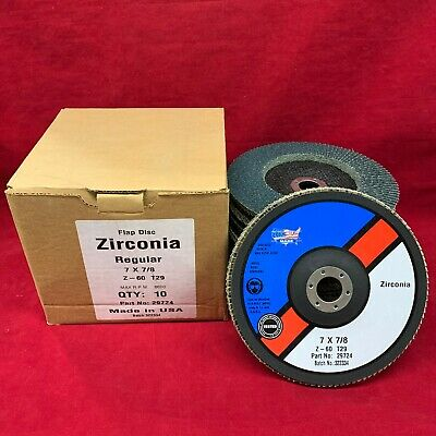 """MADE IN USA Zirconia 7"""" X 5/8"""" 60 Grit Flap Sanding Disc T27 USA SHIPPING"""