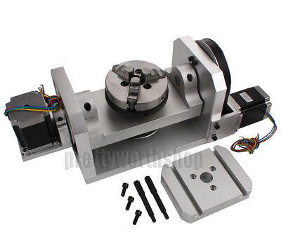 CNC Router Rotary Table Rotational Axis A  B 4th 5th Self-Centering 100MM Chuck