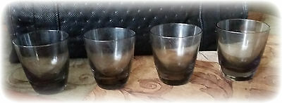 "Vintage Smoked Glass Shot Glasses 2 1/2"" Tall Lot of 4"