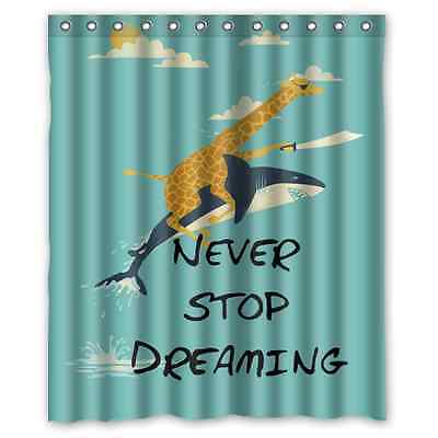 New Custom Giraffe Riding Shark Never Stop Dreaming Shower Curtain 60x72Inches