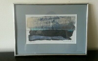 Vintage 1987 signed W.V. Peckman abstract mixed media tissue framed art painting