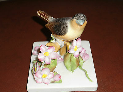 HEREND, porcelain bird perched on branch with flowers,  from Hungary  post 1940