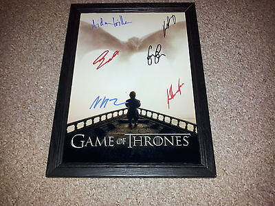 "Game Of Thrones Cast X6 Pp Signed & Framed 12""x8"" Poster Peter Dinklage N5"