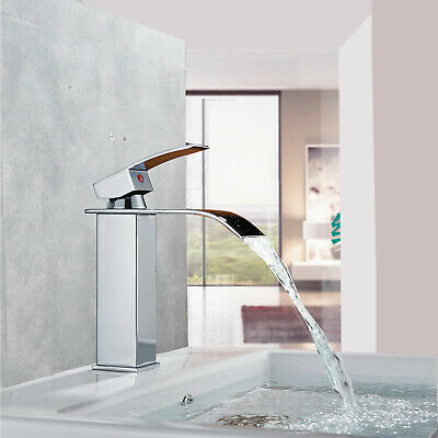 Bathroom Faucet Waterfall Mixer One Hole/Handle Basin Sink Tap Chrome Brass