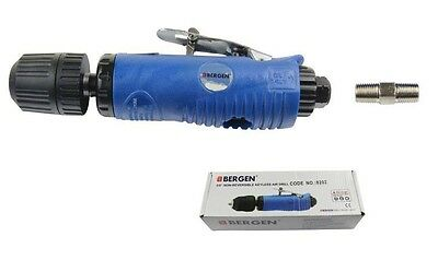 "AIR DRILL with 3/8"" KEYLESS CHUCK by BERGEN TOOLS straight non reversible design"