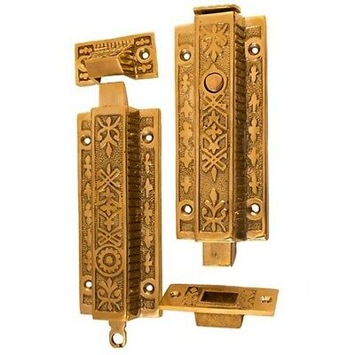 large chain french door head and foot bolts brass eastlake decorative