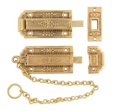 Small chain french door head and foot bolts brass eastlake decorative
