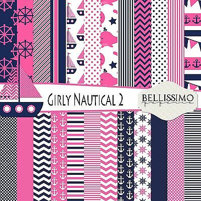 Nautical Girl Scrapbook Paper, 24 sheets, Double Pack, Pink, Blue, White