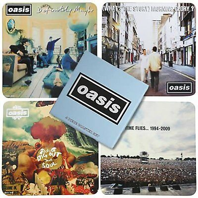 Oasis 4 Drinks Coaster Set 4 Album Covers Logo Fan Gift Box CD Noel Official