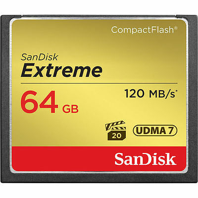 SanDisk Extreme 64GB Compact Flash Memory Card (120MB/s)- USA Authorized Dealer