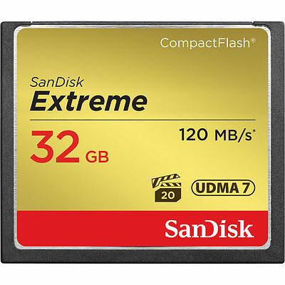 SanDisk 32GB Extreme CompactFlash Memory Card, 120MB/S- USA Authorized Dealer