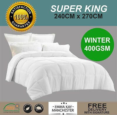 New Winter Weight Washable Microfibre Quilt Doona Duvet 400Gsm - Single + S/king