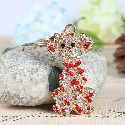 Spotted Dog Charm Lovely Pendent Crystal Purse Bag Keyring Key Chain Accessories