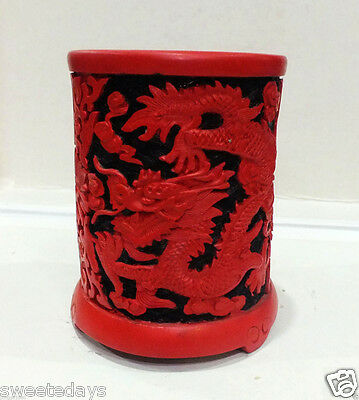 Chinese Carved Flower Red Cinnabar Lacquer Dragon Vase Pen Case