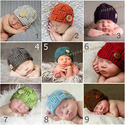 Baby Photo Props Boy Girl Crochet Knitted Cap Beanie 0-3, 3-6 Months Handmade