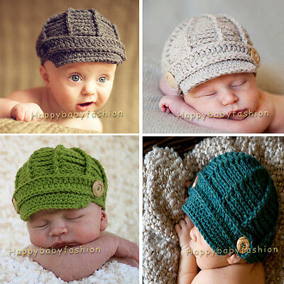 Baby Photo Props Boy Girl Crochet Knitted Newsboy Beanie 0-3-6-12 Mths Handmade