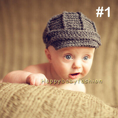 Baby Photo Props Boy Girl Crochet Knitted GREY Newsboy Beanie 0-3, 3-6 Months