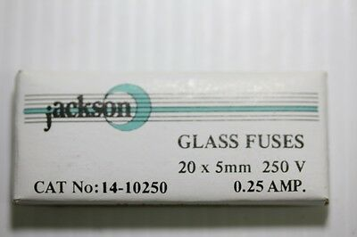 10 Pieces 0.25 Amp 250mA 250 V Glass Cartridge Fuses 20mm x 5 mm  (Part # F53)