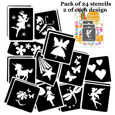 Pack of 24 FAIRY THEMED GLITTER TATTOO STENCILS for Glitter and Ink Body Art
