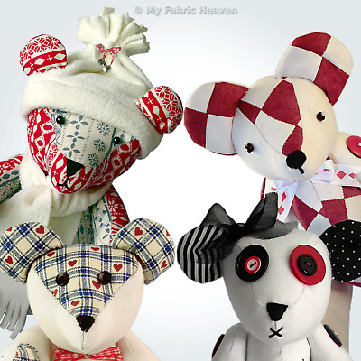 """Teddy Memory Bear Fabric Sewing PATTERN Turorial Instruction 9"""" 12"""" 13"""" Or 14"""""""