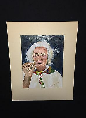 Vintage Acrylic On Arches Paper Painting Titled A WOMEN A CIGAR A THOUGHT EXHALE