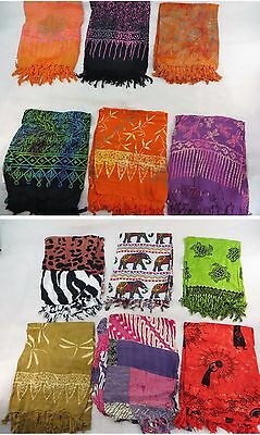 *US SELLER*Lot of 10 flower Aloha turtle elephant hippie chic sarong beach...