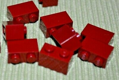 10 1x2 Dark Red Standard Bricks ~ Lego  ~ NEW ~