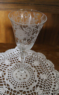 Tiffin Glass  Horseshoe Ribbon Etched Tall Goblet 1930's or 40's Glass