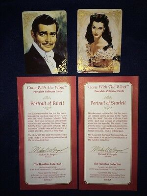 Hamilton Collection Porcelain Gone With the Wind Scarlett Rhett Collectors Cards