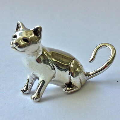 COLLECTABLE NOVELTY SITTING CAT FIGURE 925 STERLING SILVER