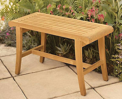 Grade-A Teak Wood Occasional Bench Stool Shower Spa Bath Outdoor Garden Patio NW
