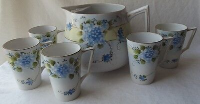 Antique Japanese Nippon Hand Painted Je-Oh China Violets Cider Pitcher & 5 Cups
