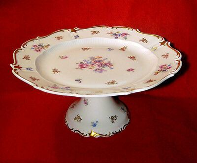 REICHENBACH PORCELAIN PEDESTAL CAKE SERVING PLATE / STAND FLORAL AND GOLD