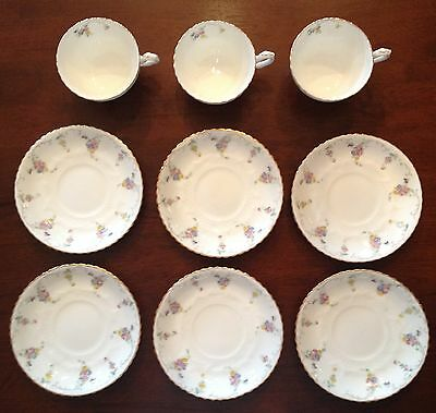 3 Cups 6 Saucers Antique WAA & Co Adderley China Spray No 50 Beautiful Floral