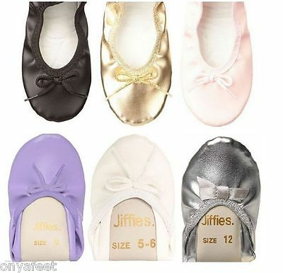 Authentic Jiffies Girls Kids Ballet Dance Shoes Black White Pink Silver Gold